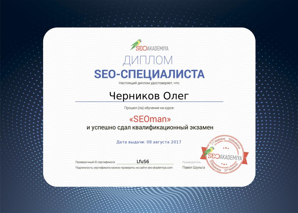 Диплом seo специалиста Черникова Олега