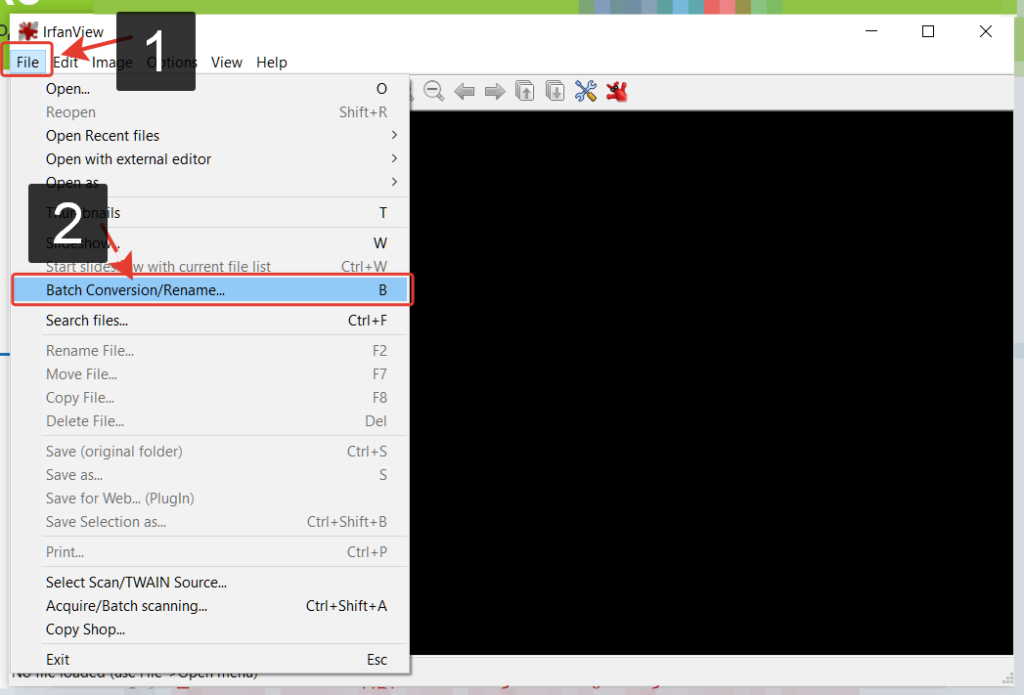 Для настройки программы переходим в меню -> File затем выбираем -> Batch Conversion/Rename
